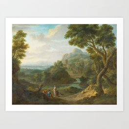 BLOEMEN, JAN FRANS VAN called Orizzonte 1662 Antwerp - 1749 Rome -   Arcadian Riverscapes with Sheph Art Print