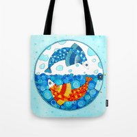 pisces Tote Bags featuring Pisces by Sandra Nascimento