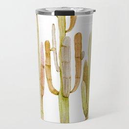 Minimalist Cactus Drawing Watercolor Painting Southwestern Green Cacti Travel Mug