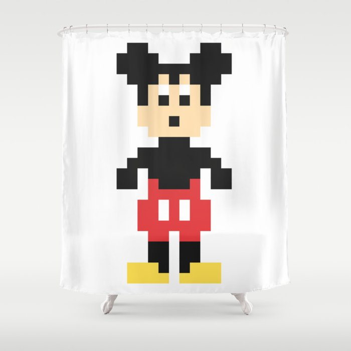Mickey Mouse Pixel Character Shower Curtain
