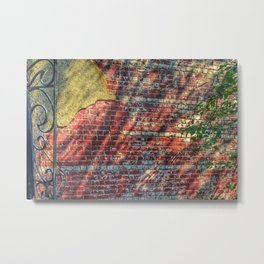 Brick, Plaster, Shadows and Steel Metal Print