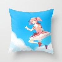 madoka Throw Pillows featuring Madoka by Homicon