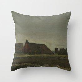 "Vincent van Gogh - Cottages ""Hutten"" (1883) Throw Pillow"