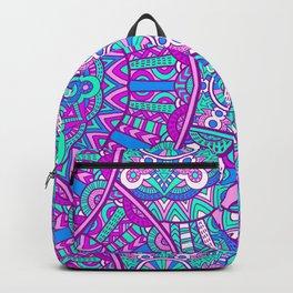 Beautiful Vintage Retro Bohemian Hippie Pink and Teal Mandala Design Backpack