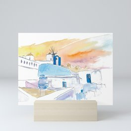 Santorini Scene with Blue And White Mini Art Print