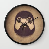 gamer Wall Clocks featuring The Gamer by powerpig