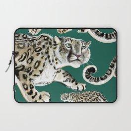 Snow leopard in green Laptop Sleeve