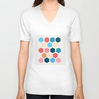 honeycomb V-neck T-shirts featuring Honeycomb by Dangerous Ideas