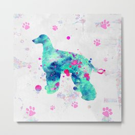 Afghan Hound Dog Watercolor Aqua Blue and Pink Metal Print