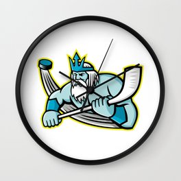 Poseidon Ice Hockey Sports Mascot Wall Clock