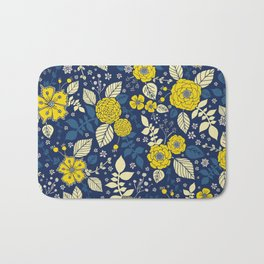 Yellow & Blue Floral Pattern Bath Mat
