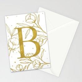 Letter B Gold Monogram / Initial Botanical Illustration Stationery Cards