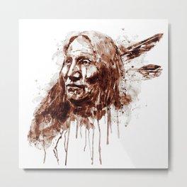 Native American Portrait Sepia Tones Metal Print