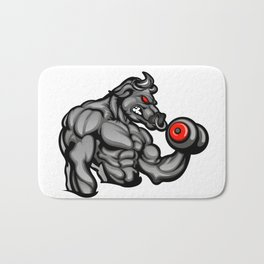 a strong angry bull with a barbell Bath Mat