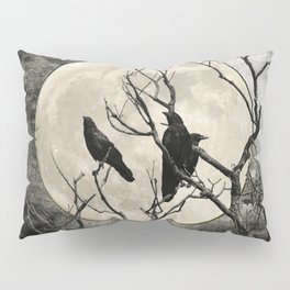Black White Crows Birds Tree Moon Landscape Home Decor Matted Picture Print A268 Pillow Sham