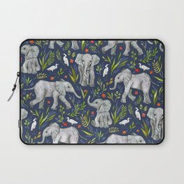 Baby Elephants and Egrets in Watercolor - navy blue Laptop Sleeve