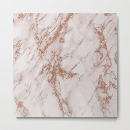 Abstract blush gray rose gold glitter marble Metal Print