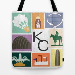 Kansas City Landmark Print Tote Bag