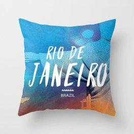Corcovado, Rio de Janeiro, Brazil, poster Throw Pillow