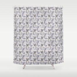 Gray Maneki Neko pattern Shower Curtain