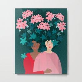 Sisterhood: Geranium Metal Print