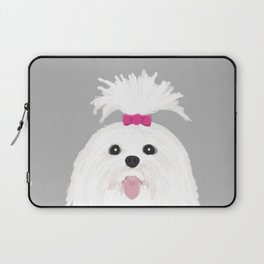 Pima - Shih Tzu cute white funny dog art customizable gift for dog person dog lovers pet art Laptop Sleeve