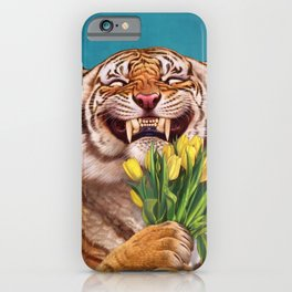 Smiling (shy) Tiger - holding bouquet (tulip) iPhone Case