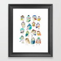Owls, owl art, owl print, illustration, pattern, Framed Art Print