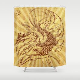 old fashion vintage japanese koi fish tattoo sun rays vector art Shower Curtain