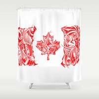 canada Shower Curtains featuring Canada Flag by David T Eagles