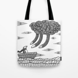 Penguins And A Death Cloud Tote Bag
