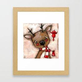 Red Bird and Reindeer - Christmas Holiday Art Framed Art Print