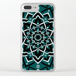 'Immortal Spirit' Dark Teal Black & White Mandala Design Clear iPhone Case
