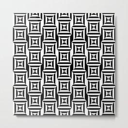 Op art broken squares in black and white Metal Print