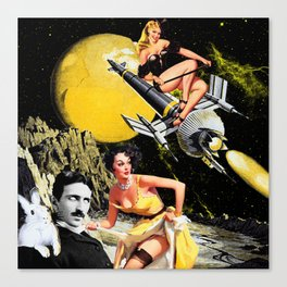 Tesla And Rabbit Canvas Print