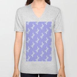 Tropical blue lilac white cactus floral pattern Unisex V-Neck