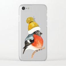 Christmas Bird Bullfinch Clear iPhone Case