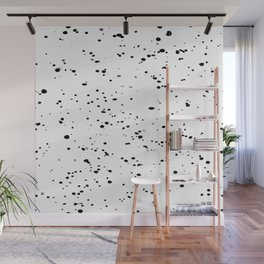 Paint Spatter Black on White Wall Mural