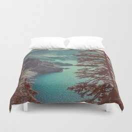 Vintage Blue Crater Lake and Trees - Nature Photography Duvet Cover