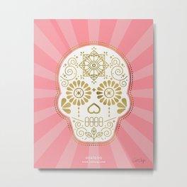 Día de Muertos Calavera • Mexican Sugar Skull – Blue & Rose Gold Metal Print