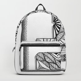 Zentangle I Monogram Alphabet Initial Backpack