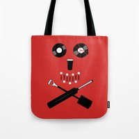 shaun of the dead Tote Bags featuring Shaun of the Dead - Skull by Nick Kemp