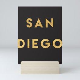 SAN DIEGO CALIFORNIA GOLD CITY TYPOGRAPHY Mini Art Print