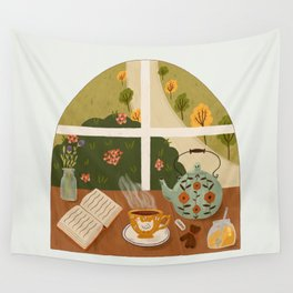 Tea Time by the Window Wall Tapestry