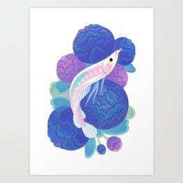 Arowana and peony Art Print