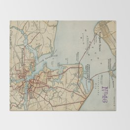 Vintage Map of Norfolk and Portsmouth VA (1919) Throw Blanket