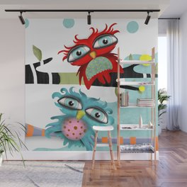 TWO OWLS CHILLING IS FABULOUS Wall Mural