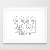 palo alto Framed Art Prints featuring palo alto - teddy and april by Bethany Mannion