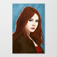 amy pond Canvas Prints featuring Amy Pond by MODBLOT: Art of Dan Marek