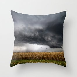 Corn Field - Storm Over Withered Crop in Southern Kansas Throw Pillow